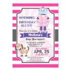Cute Pink Robot, Girl's Birthday Party Card