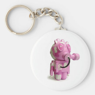 Cute Pink Robot Heart Keychain