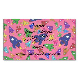 Cute pink rocket ships pattern magnetic business cards (Pack of 25)