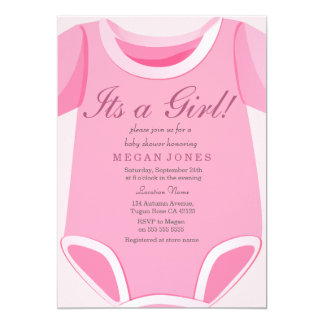 Cute Pink Romper Its a girl baby shower invite