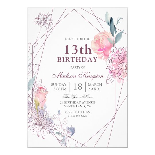 Cute Pink Rose Geometric Girls 13th Birthday Party Invitation