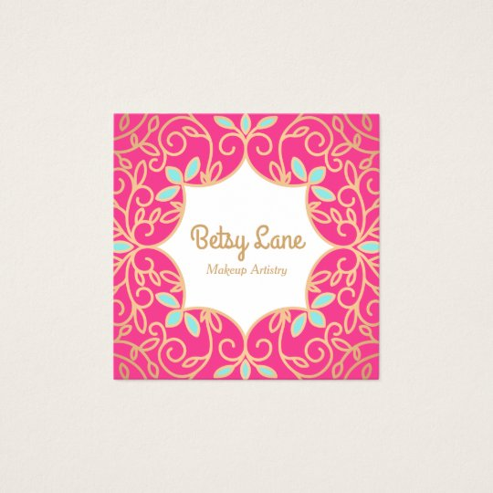 Cute Pink Rose Gold Swirls Makeup Artist Square