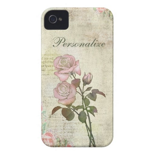 Cute Pink Roses on Vintage Background iPhone 4 Cover