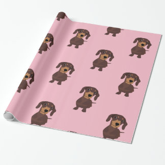 Cute Pink Sausage Dog Dachshund Wrapping Paper
