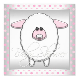 Cute Pink Sheep Baby Girl Shower Personalized Invite
