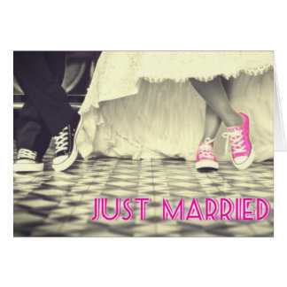 Cute Pink Shoes Just Married Greeting Card