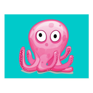 cute pink silly octopus postcard