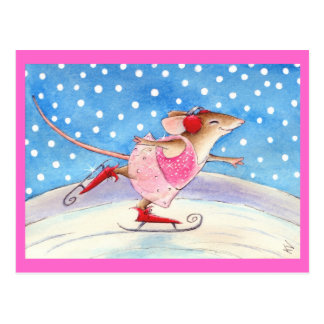 Cute pink skating mouse postcard