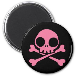 Cute Pink Skull 6 Cm Round Magnet