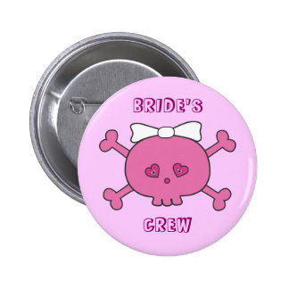 Cute Pink Skull Bride's Crew Bachelorette Party 6 Cm Round Badge