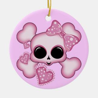 Cute Pink Skull Christmas Ornament