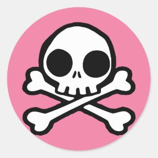 Cute Pink Skull Round Sticker