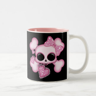 Cute Pink Skull Two-Tone Coffee Mug