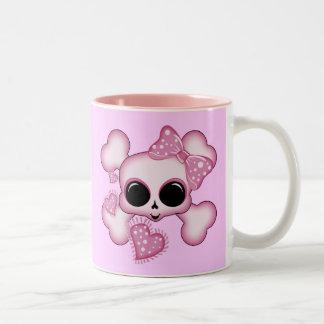 Cute Pink Skull Two-Tone Mug