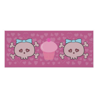 Cute Pink Skulls & Cupcake With Hearts Background Poster