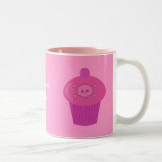 Cute Pink Skulls & Cupcakes Personalized Two-Tone Coffee Mug