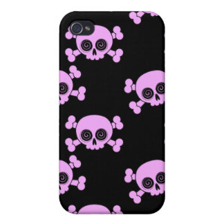 Cute Pink Skulls Case For iPhone 4