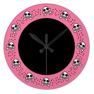 Cute Pink Skulls Round Wallclocks