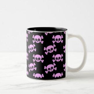 Cute Pink Skulls Two-Tone Mug