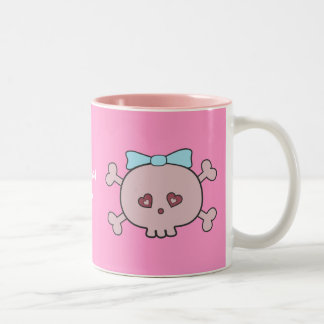 Cute Pink Skulls With Blue Ribbons Personalized Two-Tone Coffee Mug