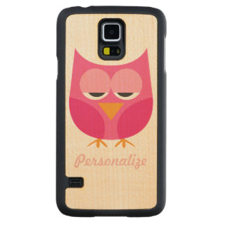 Cute Pink Sleepy Owl Personalized Carved Maple Galaxy S5 Case