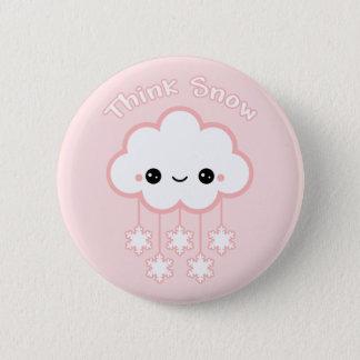 Cute Pink Snow Cloud 6 Cm Round Badge