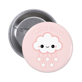 Cute Pink Snow Cloud 6 Cm Round Badge