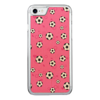 Cute Pink Soccer Pattern Carved iPhone 8/7 Case