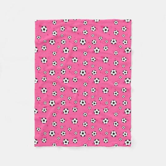 Cute Pink Soccer Pattern Fleece Blanket