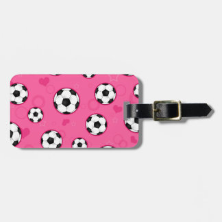 Cute Pink Soccer Star Print Luggage Tag