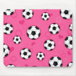 Cute Pink Soccer Star Print Mouse Pad