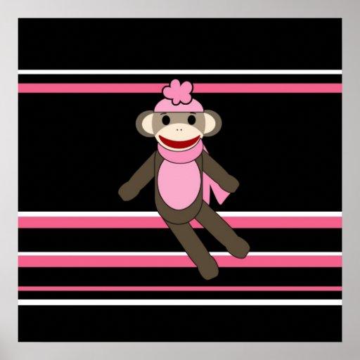 Cute Pink Sock Monkey Girl Flower Hat Stripes Poster