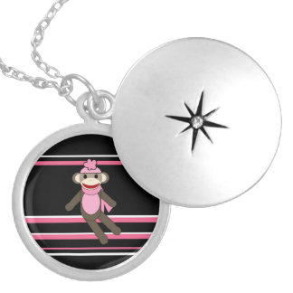 Cute Pink Sock Monkey Girl Flower Hat Stripes Silver Plated Necklace