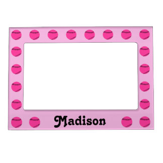 Cute Pink Softball Custom Magnetic Picture Frame