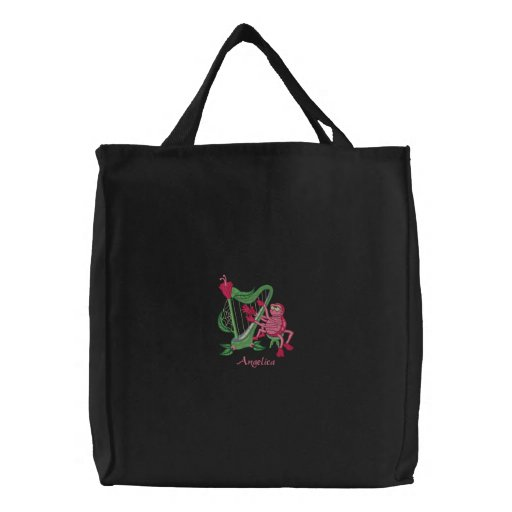 Cute Pink Spider Playing Flower Musical Harp Bags