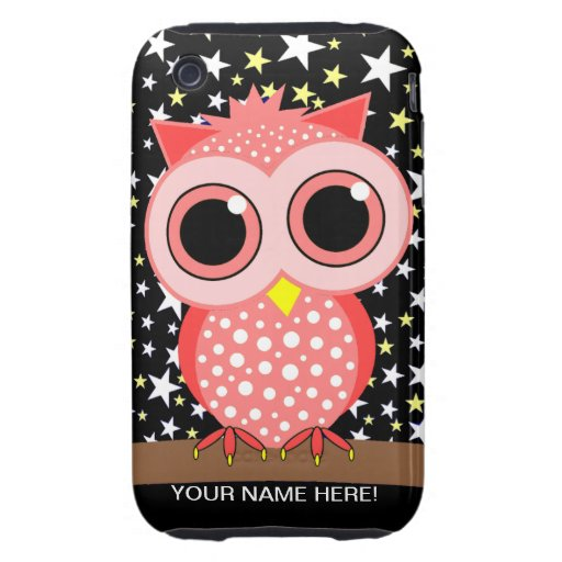 cute pink spotted owl tough iPhone 3 cases