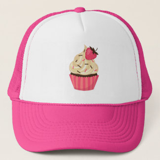 Cute Pink Sprinkles Strawberry Cupcake Trucker Hat