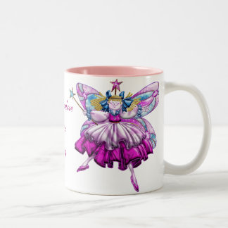 Cute Pink Sugar Plum Fairies Printed Jewel Effect Two-Tone Coffee Mug