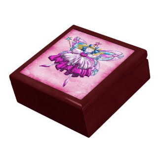 Cute Pink Sugar Plum Fairy Printed Jewel Effect Large Square Gift Box