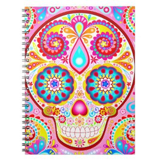 Cute Pink Sugar Skull Notebook - Colorful Details!