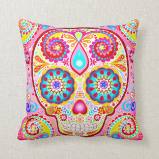 Cute Pink Sugar Skull Pillow - Day of the Dead Art