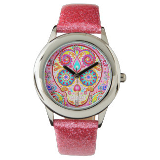 Cute Pink Sugar Skull Watch - Day of the Dead Art