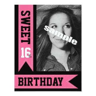 Cute Pink Sweet Sixteen Photo Birthday Party 11 Cm X 14 Cm Invitation Card