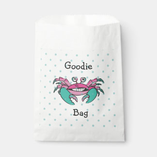 Cute Pink & Teal Crab Goodie Bag Favour Bags