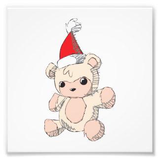 Cute Pink Teddy Bear Santa Hat Invitation Stamps Photo Print
