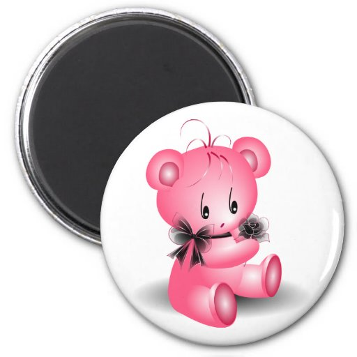 Cute Pink Teddy Bear With Black Rose Magnet | Zazzle