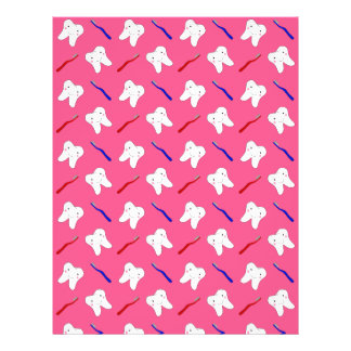 Cute pink toothburshes and teeth pattern 21.5 cm x 28 cm flyer