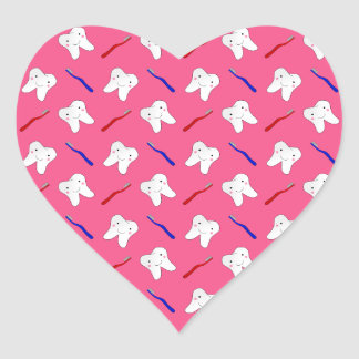Cute pink toothburshes and teeth pattern heart sticker