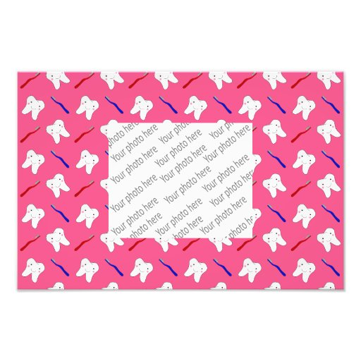 Cute pink toothburshes and teeth pattern photo print
