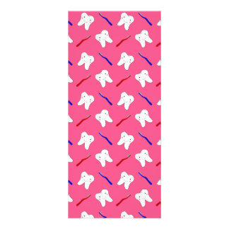 Cute pink toothburshes and teeth pattern custom rack cards